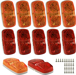 Wellmax LED Trailer Marker Lights, 6 Red and 6 Amber Combination Bullseye Lights, Rear and Side Exterior Clearance Surface and Sleeper Panel Mount, 12V Universal Fit