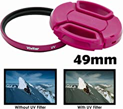 Vivitar 49mm UV Filter and Snap On Lens Cap - Pink