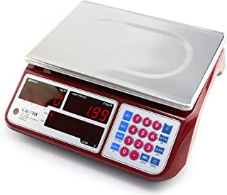 Camry Digital Commercial Price Scale 66lb / 30kg for Food Meat Fruit Produce with Dual Bright Red LED Display 16 Inches Platform Rechargeable Battery Included Not For Trade