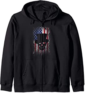 Halloween Costume - Distressed Skull Skeleton American Flag Zip Hoodie