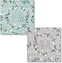 The Studio Resource, Inc. Teal, Brown and White Country Rustic Cotton Boll Wreath 'Let Go Let God' and 'Pray Big Worry Small' Religious Set; 2-12x12in Unframed Paper Posters