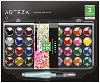 Arteza Classic Watercolor Paint, Set of 36 Vibrant Color Cakes, Includes 1 Water Brush Pen, Art Supplies Travel Watercolor...
