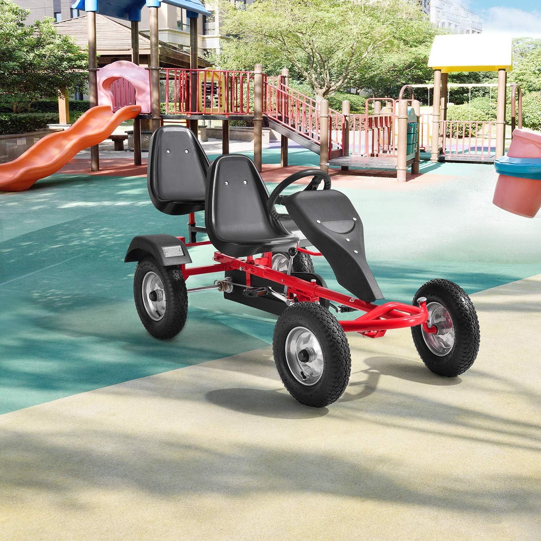 ArtSport 2-Sitzer Gokart mit Schalensitz, Luftreifen, Stahl-Felgen & Freilauf – Tretauto Kinderfahrzeug – Kinder Spielzeug ab 8 Jahre - blau Rot
