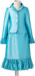 Girls' 2-piece Turquoise Interview Pageant Suits Ruffles Outfits