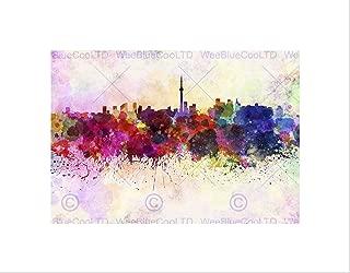 PAINTING CITYSCAPE PAINT SPLASH SKYLINE TORONTO Art Print B12X13556