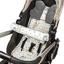 Sitzauflage Kinderwagen Einlage - Buggy Auflage Sitzeinlage für Kindersitz atmungsaktiv universal Set mit Kopfstütze Gürtelschutz 75x35 cm Grau – Eulen