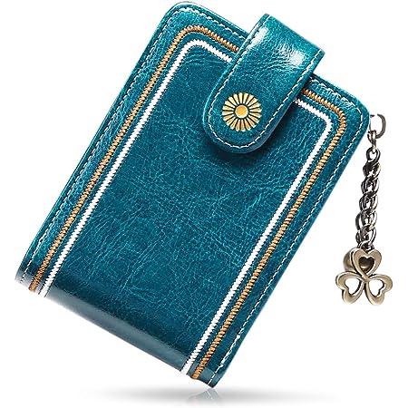 SENDEFN Credit Card Wallet RFID Blocking Genuine Leather Zipper Card Cases Holder for Women