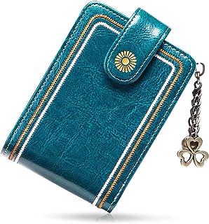 SENDEFN Porta Carte di Credito Pelle per Donna,Genuino del Titolare della Carta in Pelle RFID Schermato Portafoglio Cernie...