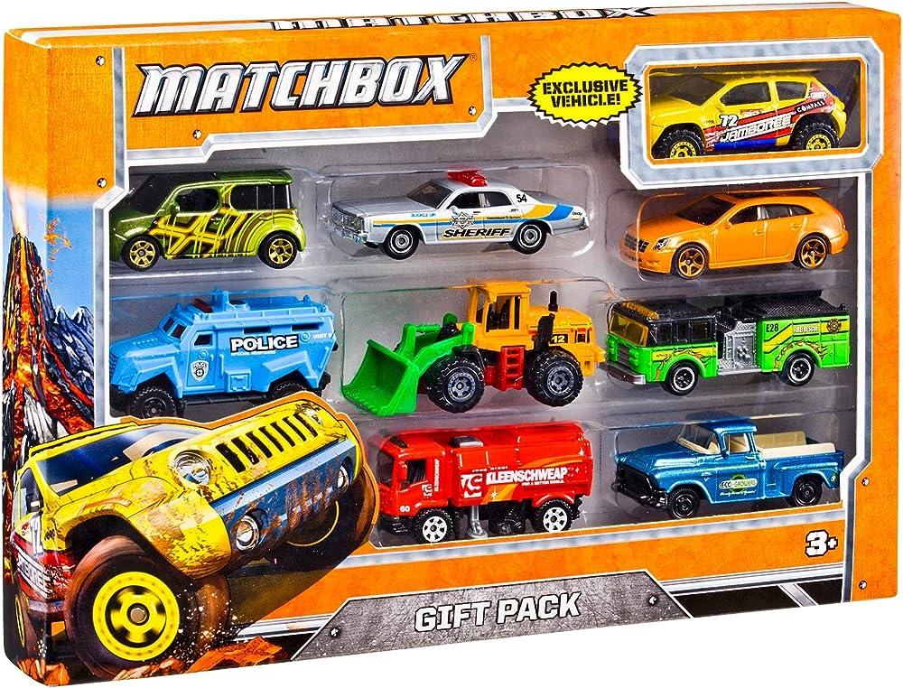 Matchbox, confezione regalo con 9 macchinine, modellini di auto e camion in metallo X7111