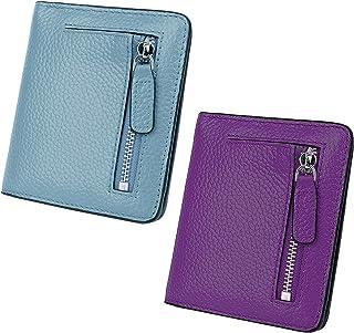 AINIMOER Women Leather Wallet RFID Blocking Small Mini Bifold Zipper Pocket Card Case Gray Blue and Dark Purple