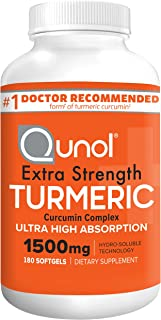 Turmeric Curcumin Softgels, Qunol with Ultra High Absorption 1500mg, Joint Support, Dietary Supplement, Extra Strength, 18...