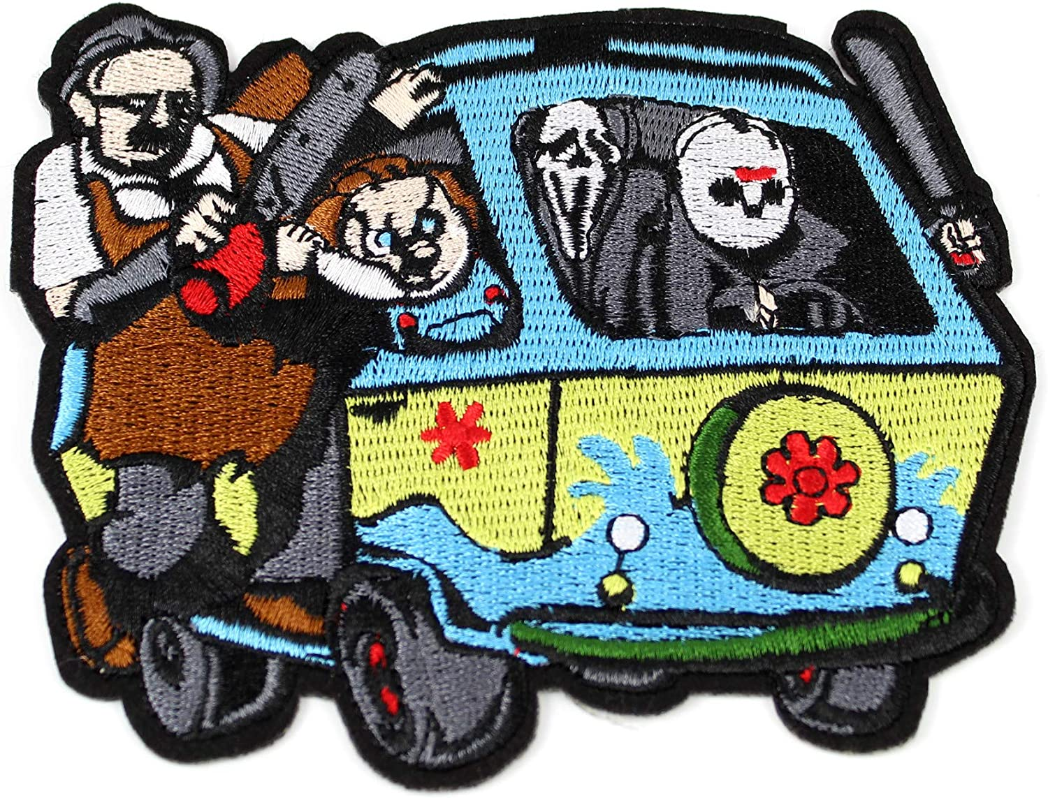 "Amazon.com: Mystery Machine Murder Van Chucky Jason Scream Leatherface Embroidery  Patches Iron On Patches 4.5"" X 5"" (1 Patch): Arts, Crafts & Sewing"
