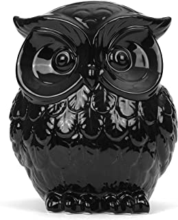 Milltown Merchants&Trade; Owl Figurine - Ceramic Owl - Owl Decor - Black Ceramic Owl Statue (Large - 7.5