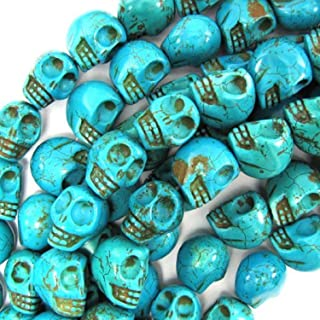 Beautiful Bead 10X12mm Blue Turquoise Carved Skull Beads 16 Inch Strand for Necklace,Bracelet Jewelry Making