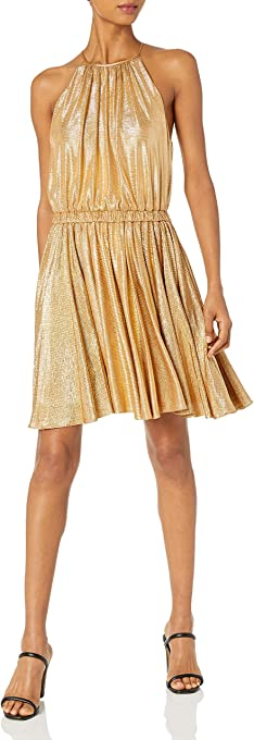 Halston Heritage Women's Sleeveless Round Neck Dress with Flounce Skirt