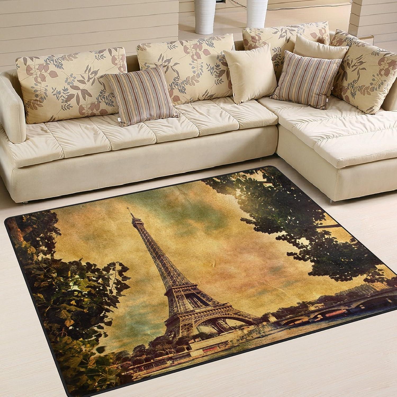 Entrega directa y rápida de fábrica Naanle Vintage Retro France Eiffel Tower - - - Alfombra antideslizante para salón, comedor, dormitorio, cocina, 50 x 80 cm, diseo de Torre Eiffel de París, multiColor, 150 x 200 cm(5' x 7')  Entrega gratuita y rápida disponible.