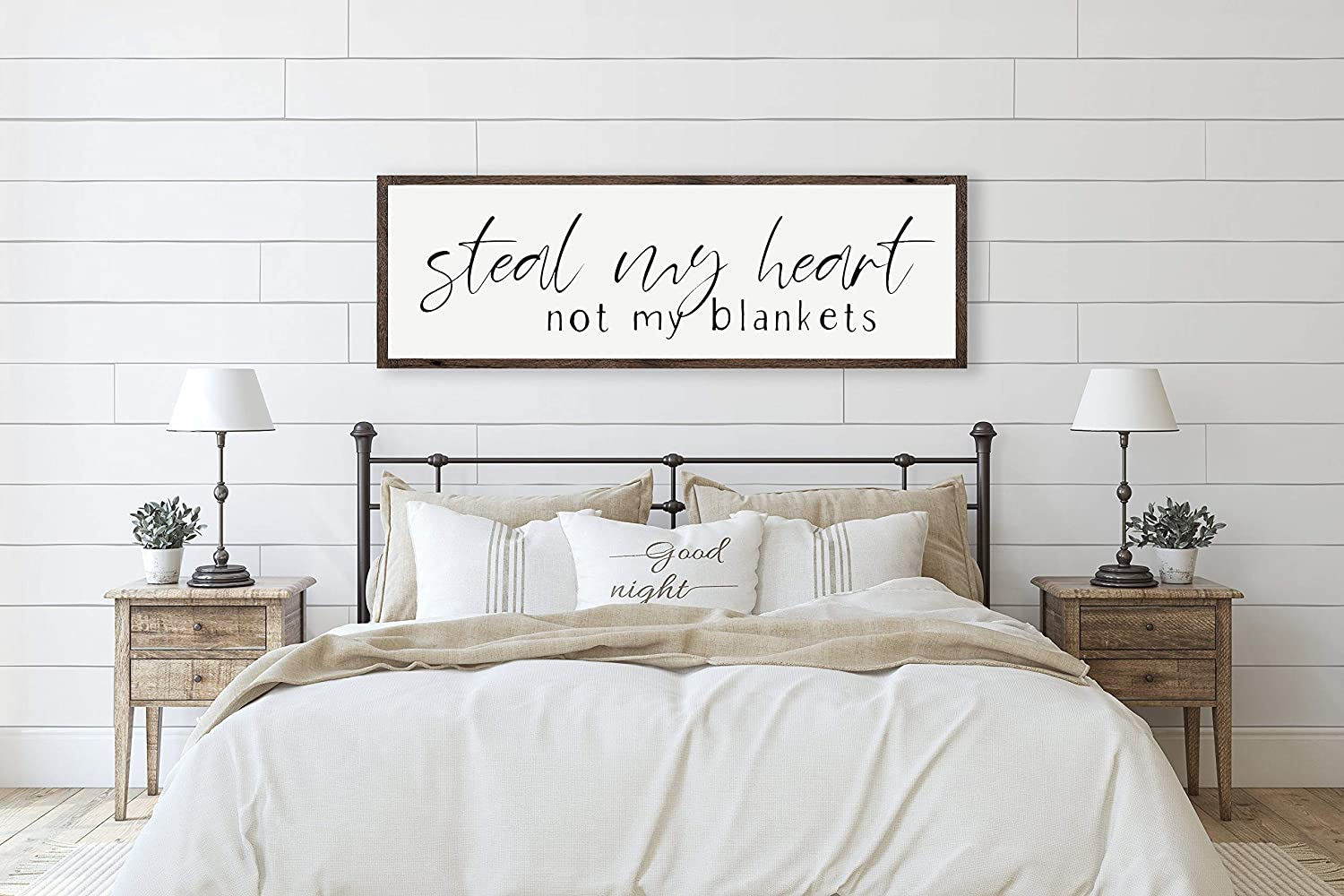 DKISEE Steal My Heart Not My Blankets, Over The Bed Sign, Master Bedroom  Decor, Bedroom Sign, Bedroom Wall Decor, Above Bed Sign, Wall Art 15.15x15