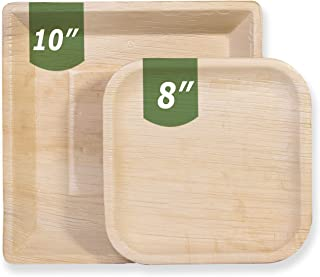 "Palm Leaf Compostable Plates, Eco-Friendly & Disposable - 8"" Square All-Natural Dinner & Dessert Plates 