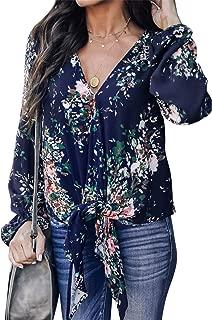 SZIVYSHI Long Sleeve Bishop Sleeve Lantern Sleeve Tie Front Deep V Neck Floral T-Shirt Blouse Shirt Top