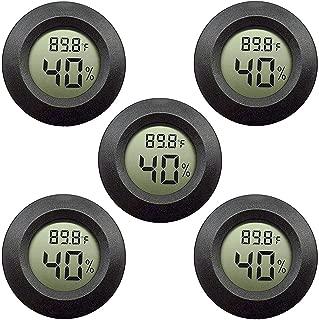 5-pack EEEkit Hygrometer Thermometer Digital LCD Monitor Indoor Outdoor Humidity Meter Gauge for Humidifiers Dehumidifiers Greenhouse Basement Babyroom, Black Round, Measure in Fahrenheit/Celsius