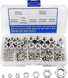 304 Stainless Steel Hex Nuts Assortment Kit for Screw Bolt (Metric M2 M2.5 M3 M4 M5 M6 M8)-315Pcs