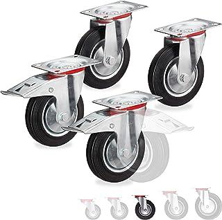 Relaxdays Zware wielen set van 4, draaibaar, kogellagers, 2 wielen met rem, draagvermogen tot 320 kg, wiel D: 125 mm, zwar...