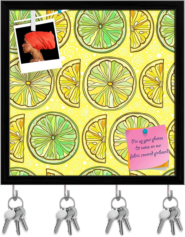 Artzfolio Lemon & Lime Key Holder Hooks   Notice Pin Board   Black Frame 20 X 20Inch
