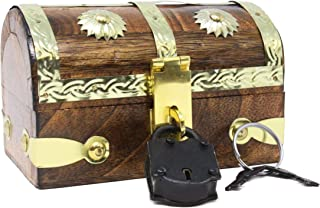 Mini Pirate Treasure Chest Box W/Iron Lock 2 Keys Wood Decorative Pirates Storage Keepsake Jewelry Wood Boxes Decor Skeleton Key Well Pack Box