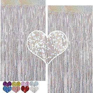 ستارة فويل من بايو ليزر بلون ارجواني من قطعتين بحجم 3 قدم × 7 قدم للحفلات على شكل شراشيب من رقائق معدنية تشبه المطر لتزيين...