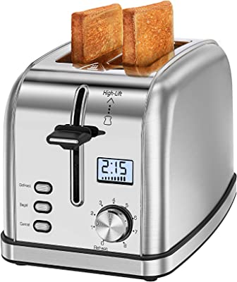 Homasy Tostadora 2 rebanadas 8 ajustes de tostadas, bandeja deslizante para migas, 2 ranuras extra anchas para bagels gofres