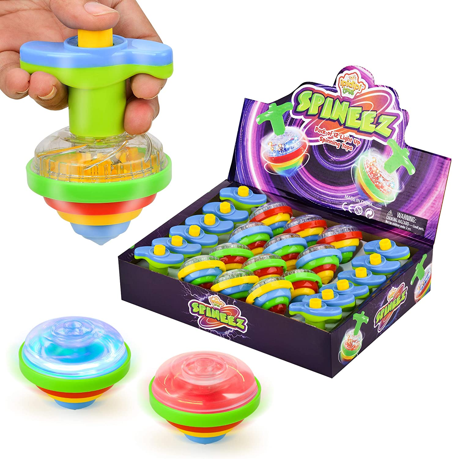 Light Up Spinning Tops for Kids, Set of 12, UFO Spinner Toys with Flashing LED Lights, Fun Birthday Party Favors, Goodie Bag Fillers for Boys and Girls, Stocking Stuffers Display Box