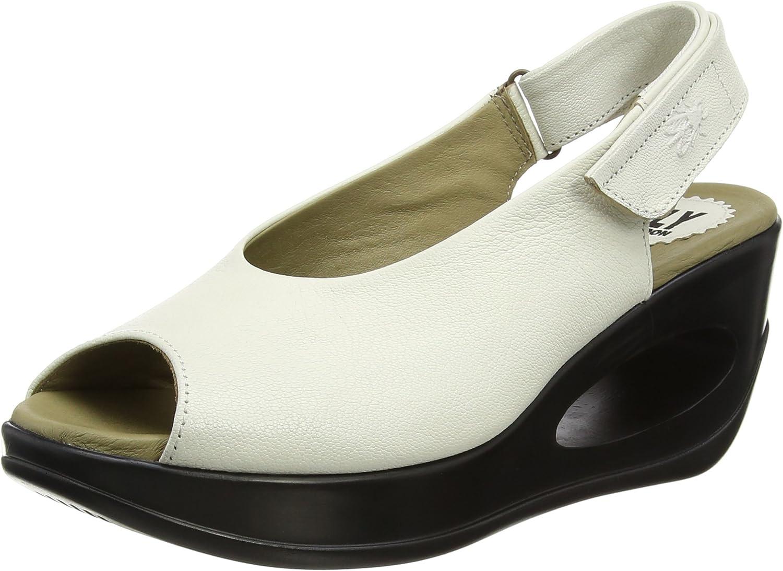 Fly London Women's Hett889fly Mousse Leather Wedge Sandal