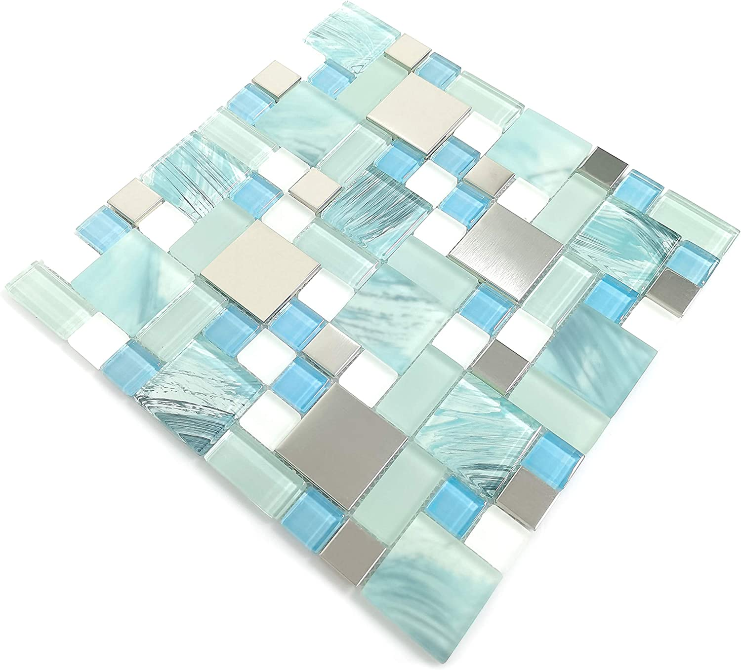 5 ☆ popular Hand Max 90% OFF Painted Ocean Blue Glass Silver Tiles Backsp Mosaic Kitchen