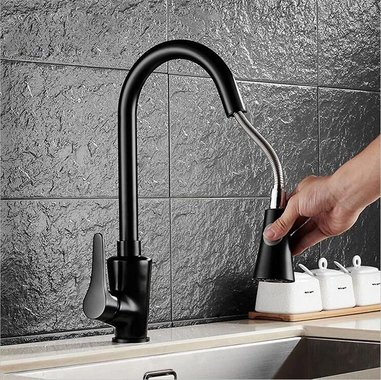 European Style Pull Black Kitchen Taps Dish Dish Sink hot and Cold 360 Degree redating Taps
