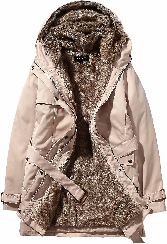 Beinia 1 year warranty Valuker Women'sWinter Trench Detachable Soldering Fur Coat with