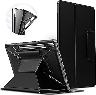INFILAND Hülle für Samsung Galaxy Tab S7+/S7 Plus 12.4 2020, Einzigartig Mehreren Winkeln Schutzhülle Tasche für Samsung Galaxy Tab S7+/S7 Plus 12.4 (T970/T975/T976) 2020, Auto Schlaf/Wach,Schwarz