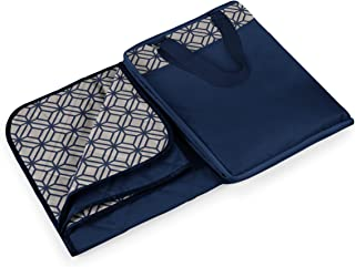 Picnic Time Vista Outdoor Picnic Blanket Tote XL, Midnight Blue with Morrocan Print