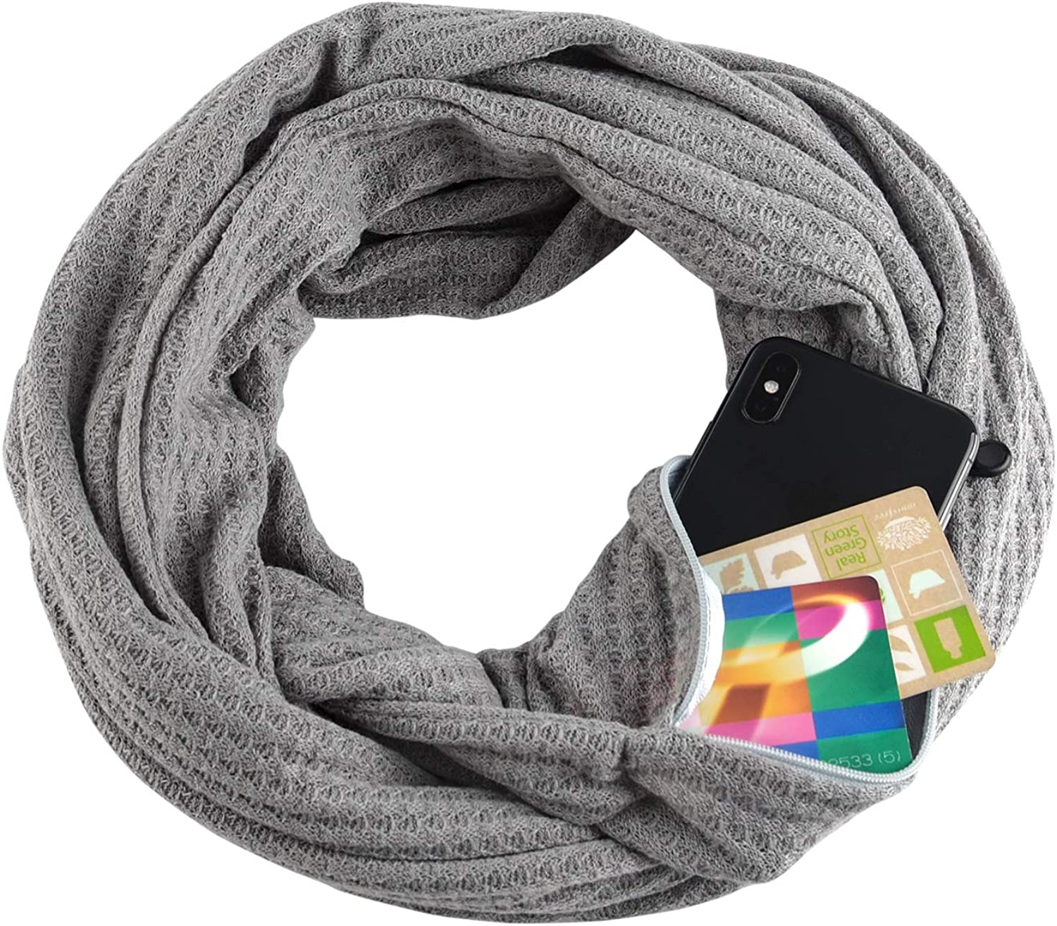 TUPARKA Infinity Scarf with Hidden Zipper Pocket Travel Essentials Lightweight Solid color Scarf for Unisex
