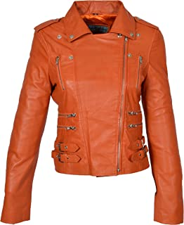 HOL Womens Real Leather Biker Motorcycle Style Fitted Cross Zip Jacket Cara Orange