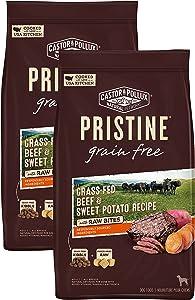 Castor & Pollux Pristine Grain Free Grass-Fed Beef & Sweet Potato Recipe with Raw Bites Dry Dog Food, 10 LB