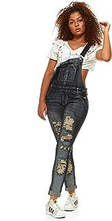 V.I.P.JEANS Casual Blue Jean Bib Strap Pocket Shortalls Overalls for Women Long or Short Slim Fit Junior Sizes Wash Choices