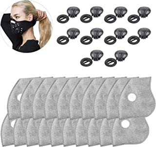 Five-layer Activated carbon PM2.5 filters Set of 20 Activated Carbon with 10 Exhaust Valves Replacement Dust,Active Carbon Filters for Mesh or Neoprene Mask