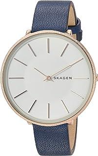 Skagen Karolina SKW2723 - Reloj de pulsera para mujer (acero inoxidable, correa de piel de cuarzo analógico, color azul, 14 relojes casuales)