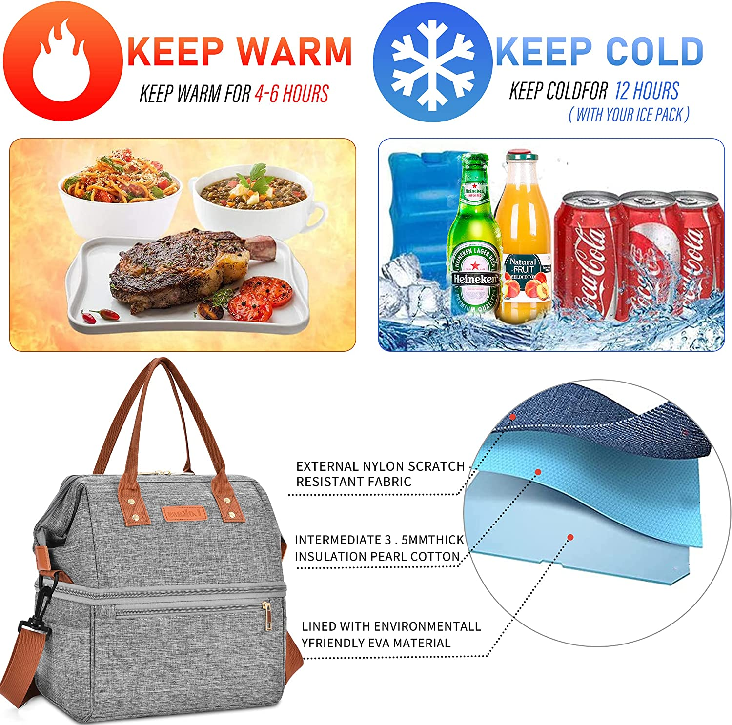 DTBG Lunch Bags for Women Wide Open Insulated Lunch Box With Double Deck Large Capacity Cooler Tote Bag With Removable Shoulder Strap Lunch Organizer For Men/Outdoor/Work(Grey)