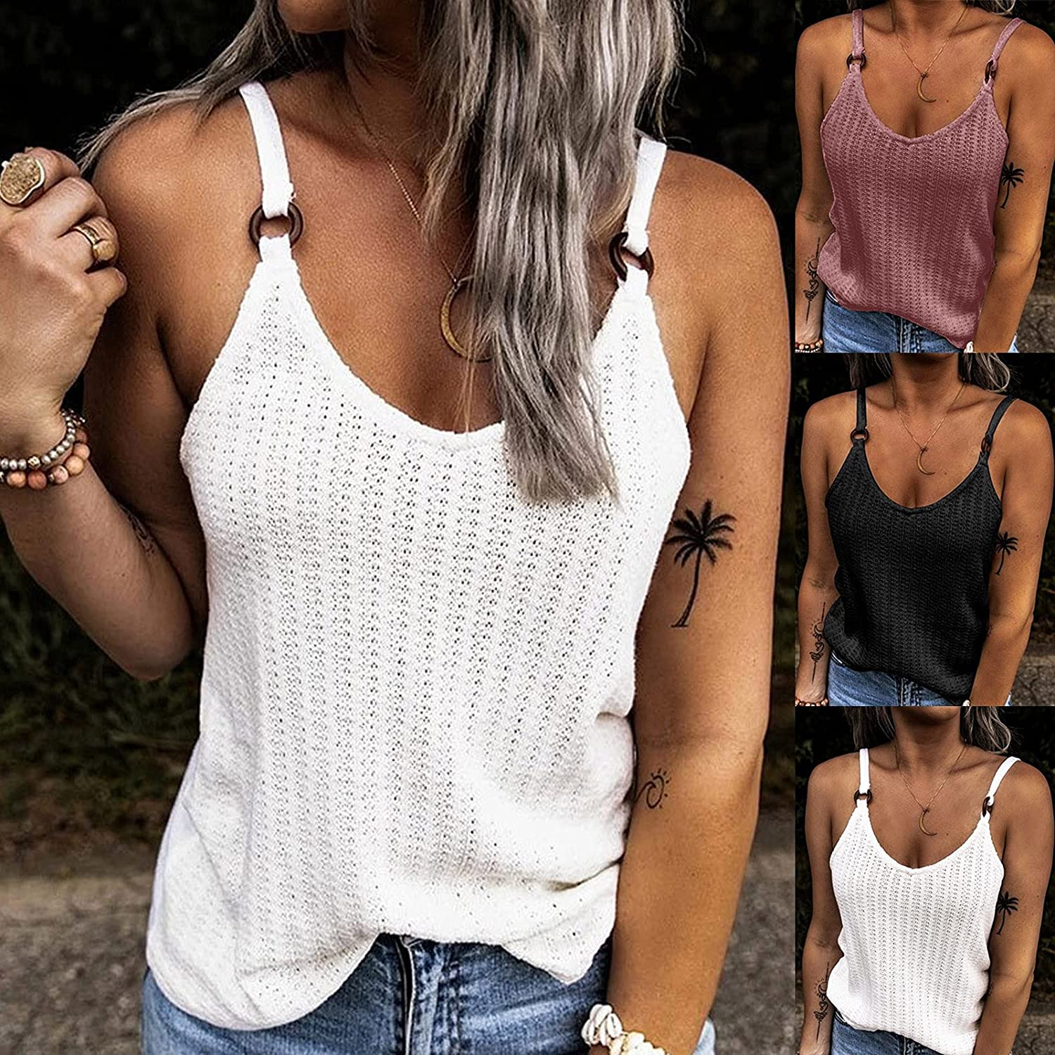 DIOMOR Summer Fashion Tops Camisole for Women V-Neck Sleeveless Hollow Spaghetti Shirts Blouse Tunic Beach Tank Top Vest