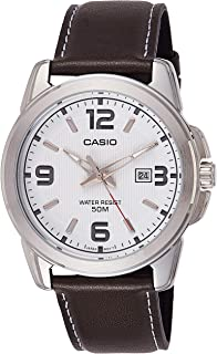 Casio Watch For Men White Dial Leather Band - Mtp-1314L-7Avdf, Analog Display