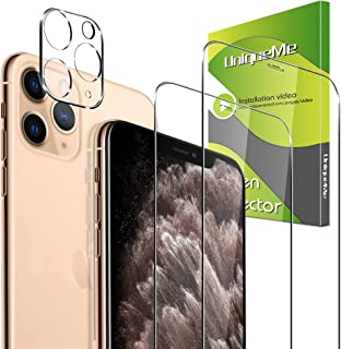 【1+2 Pack 】 UniqueMe 1 Pack Camera Lens Protector + 2 Pack Screen Protector for iPhone 11 Pro Max Tempered Glass, High Def...