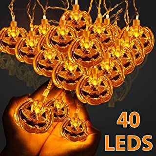 Soosi Halloween Pumpkin String Lights, 16.4 Ft 40 LED Pumpkin Lights Jack-O-Lantern Battery Operated Fairy Lights 2 Modes Steady/Flickering Lights Halloween Decorations for Outdoor Patio, Tree, Party