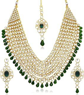 Sukkhi Gold Plated Kundan Pearl Fancy Collar Necklace Set Traditional Jewellery Set with Earrings for Women & Girls (N73539_D1)