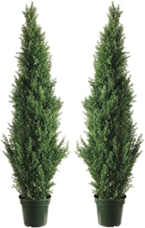 Silk Décor Cedar Topiary with 1565 Tips in Plastic Pot - Pair, 60-Inch, Green